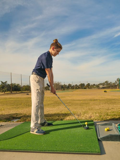 Young Man in Putting Position
