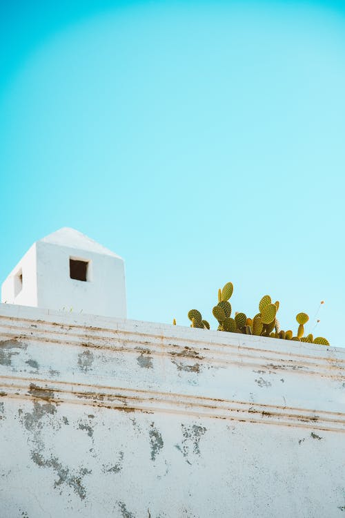 White Concrete Wall Under the Blue Sky