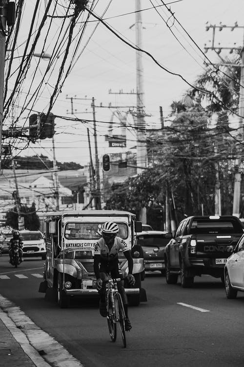 Road with cars and bike in city