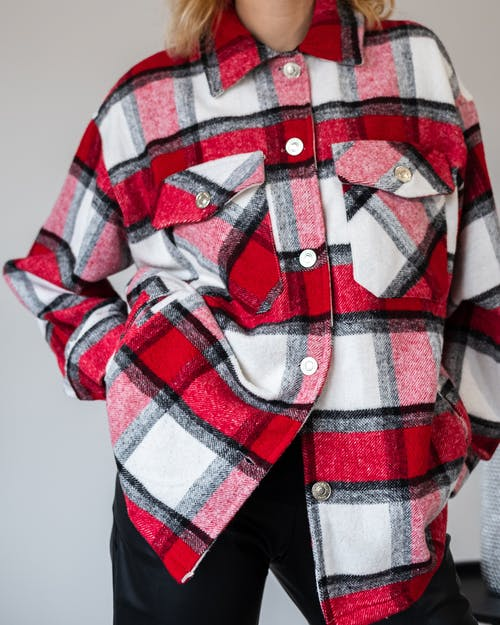 Woman in soft red checkered shirt