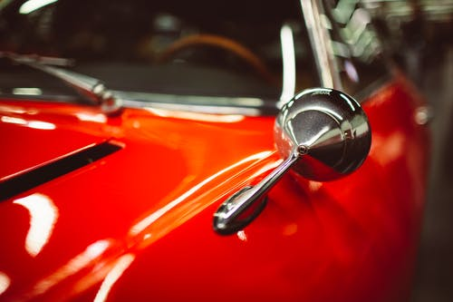 Red and Silver Car Steering Wheel