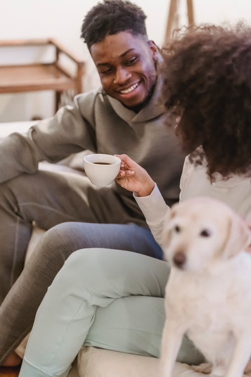 Crop anonymous African American girlfriend with cup of coffee talking with ethnic boyfriend near dog