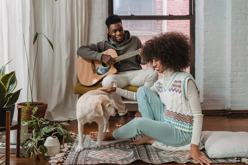 Black girlfriend entertaining with dog while boyfriend playing guitar