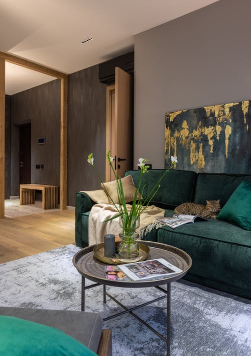 Delicate flowers in glass vase placed on round coffee table near comfortable green sofa sofa with cushions in modern apartment with