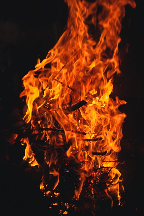 Fire in Black Background With Black Background