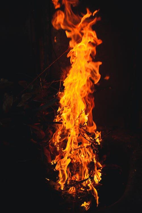 Orange Fire in Dark Room