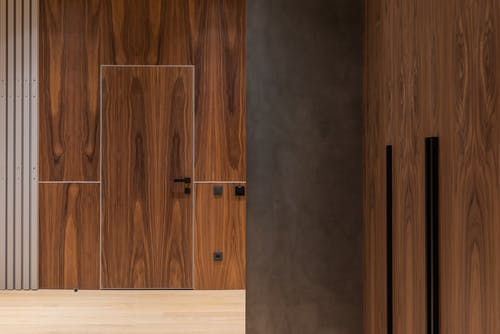 Wooden walls and door of contemporary house