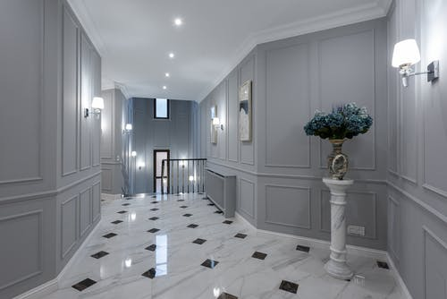Corridor interior of classic house with gray walls