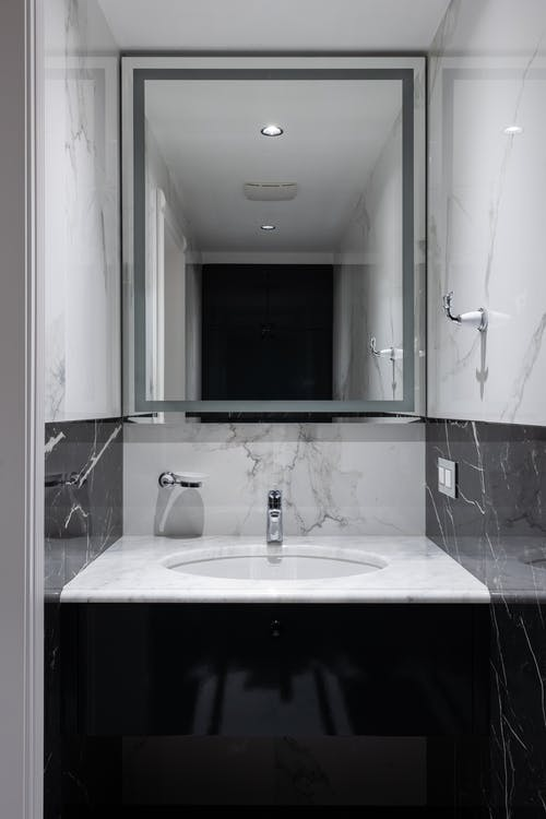 Stylish sink and mirror in bathroom