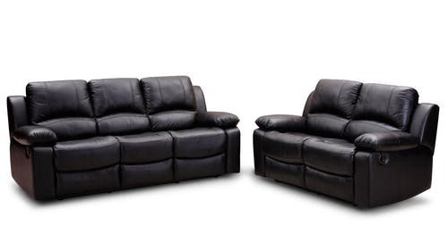 Black Leather Padded Cushion Couch Near To Loveseat