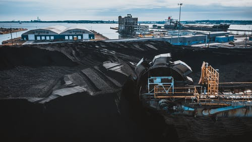 Machine digging coal in industrial area