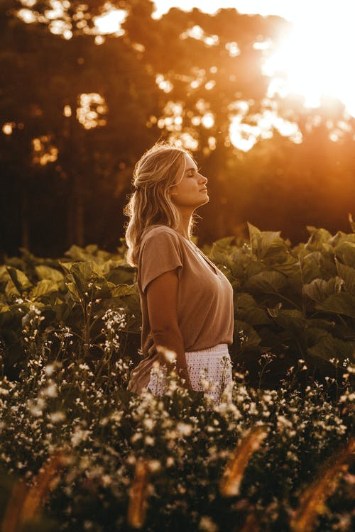 Side view attractive young female in casual summer wear standing with eyes closed on abundant field in peaceful countryside at sunset