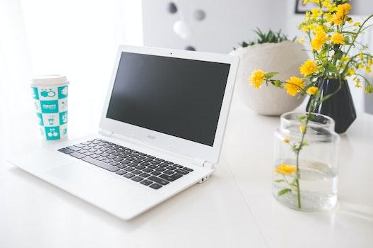 Kostenloses Stock Foto zu kaffee, schreibtisch, laptop, notizbuch