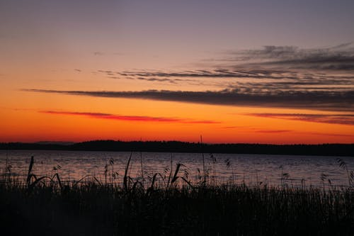 Ilmainen kuvapankkikuva tunnisteilla aallot, auringonlasku, järvi