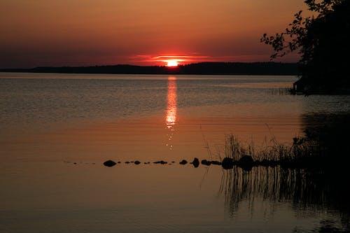Ilmainen kuvapankkikuva tunnisteilla auringonlasku, heijastus, järvi