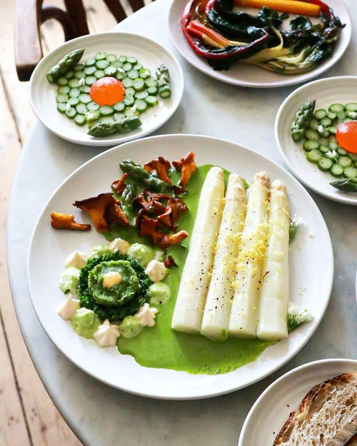 Delicious dish with white asparagus