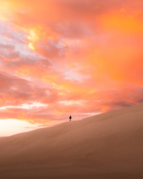 Anonymous traveler walking on sandy dune in endless desert against picturesque cloudy sunset sky