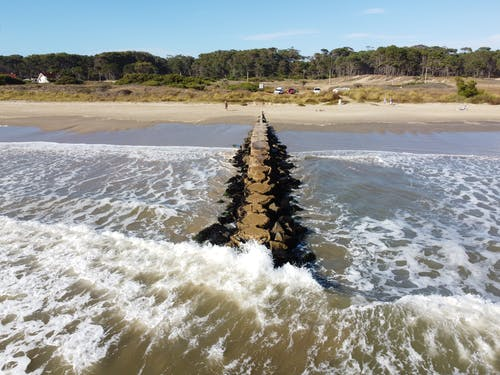 Free stock photo of bridge, drone camera, ocean