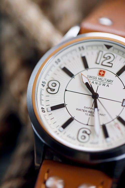 Black and White Analogue Swiss Watch
