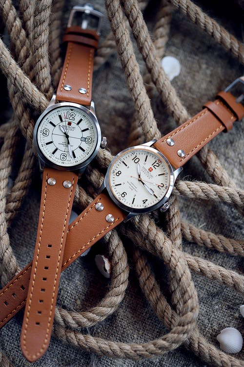 Brown Leather Strap Analog Watches on Ropes