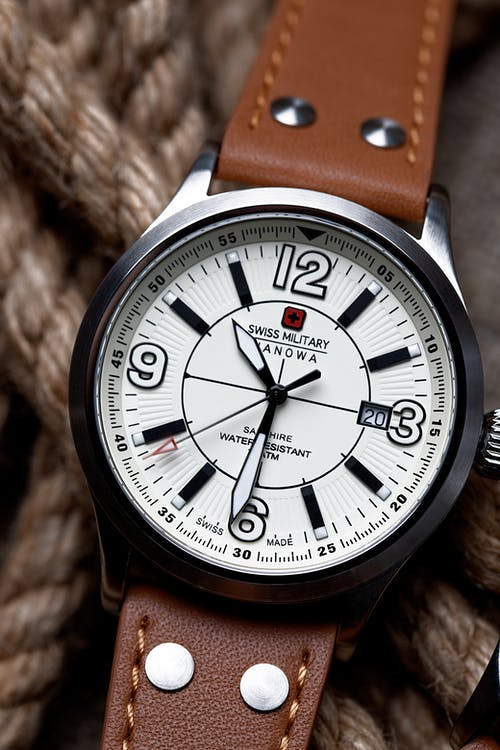Silver Swiss Analog Watch with Leather Straps