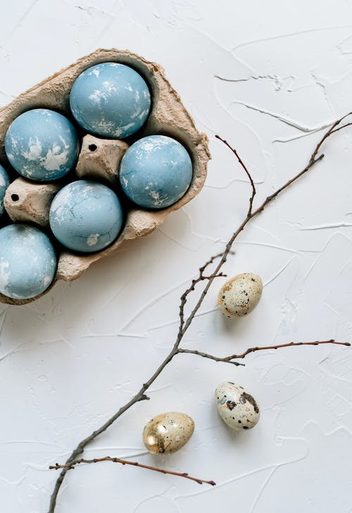 Blue and Gray Egg Ornament