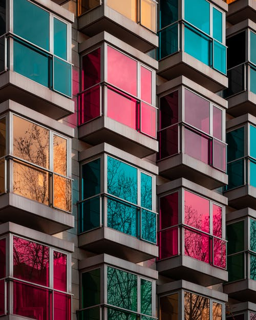 Pink Blue and White Concrete Building