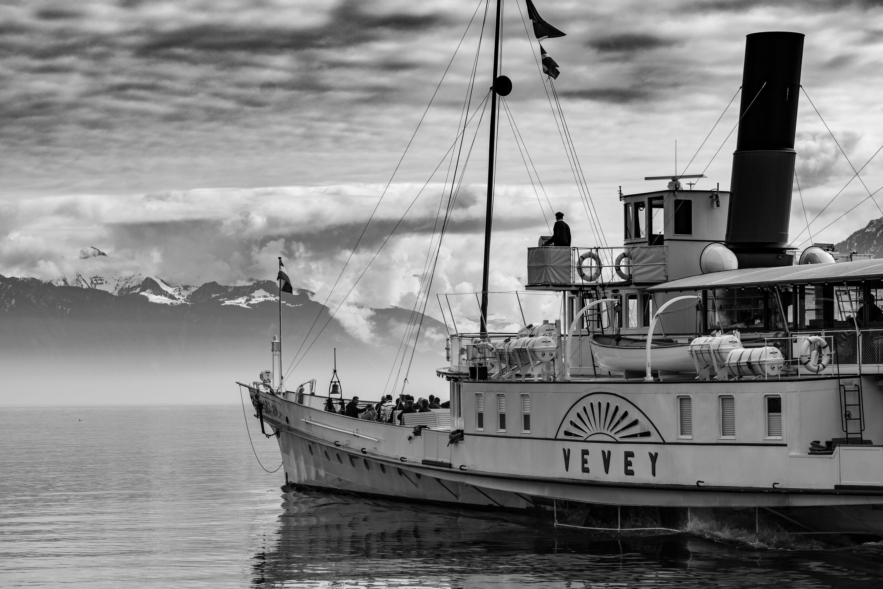 Grayscale Photography of Yevey Sail Boat