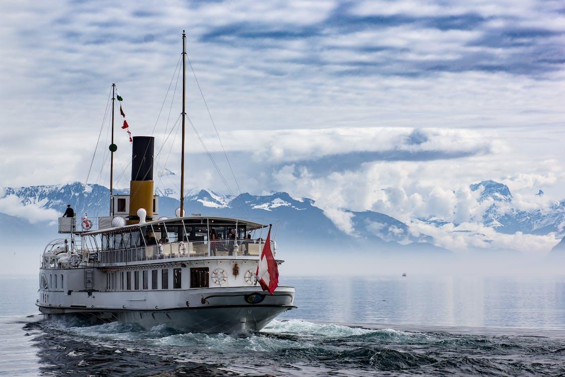båt, blå, clouds