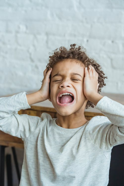 Desperate African American boy with curly hair in casual wear touching head while shouting in light room at home near wall