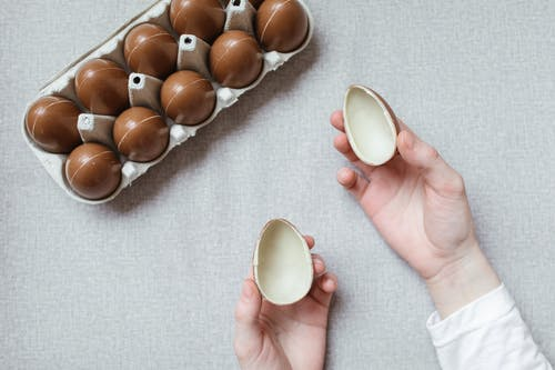 Person Holding Brown and White Egg