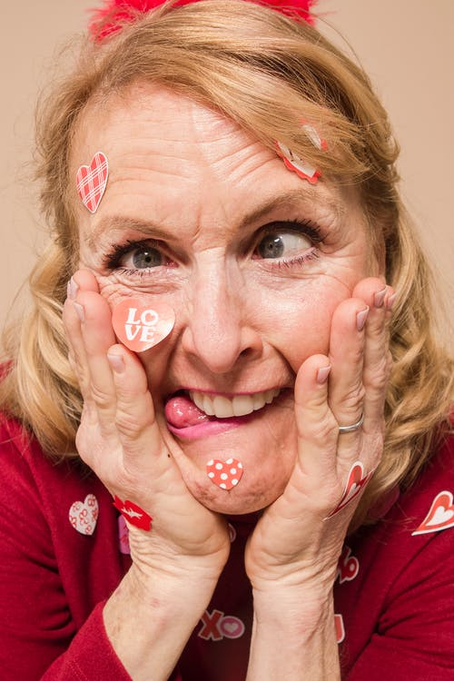 Elderly Woman Doing Wacky Face