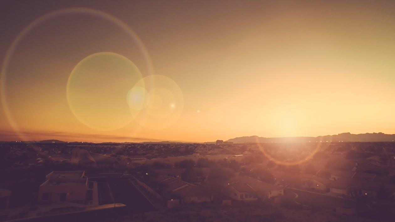 by, lysskjær, solnedgang
