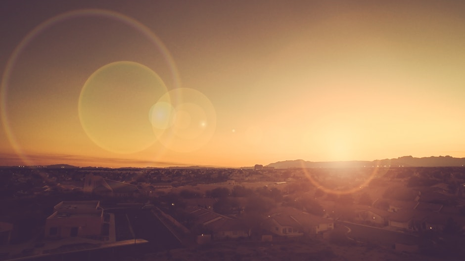 city, lens flare, sunrise