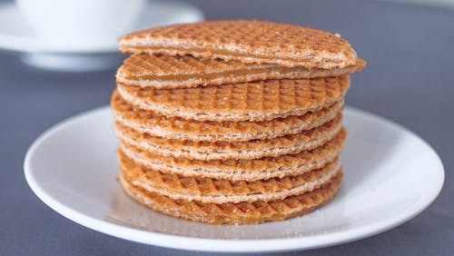 Close-Up Photo of a Mouth-Watering Plate of Stroopwafels