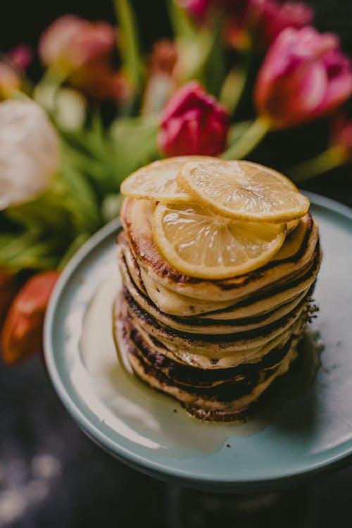 Sliced Lemon on Pancakes