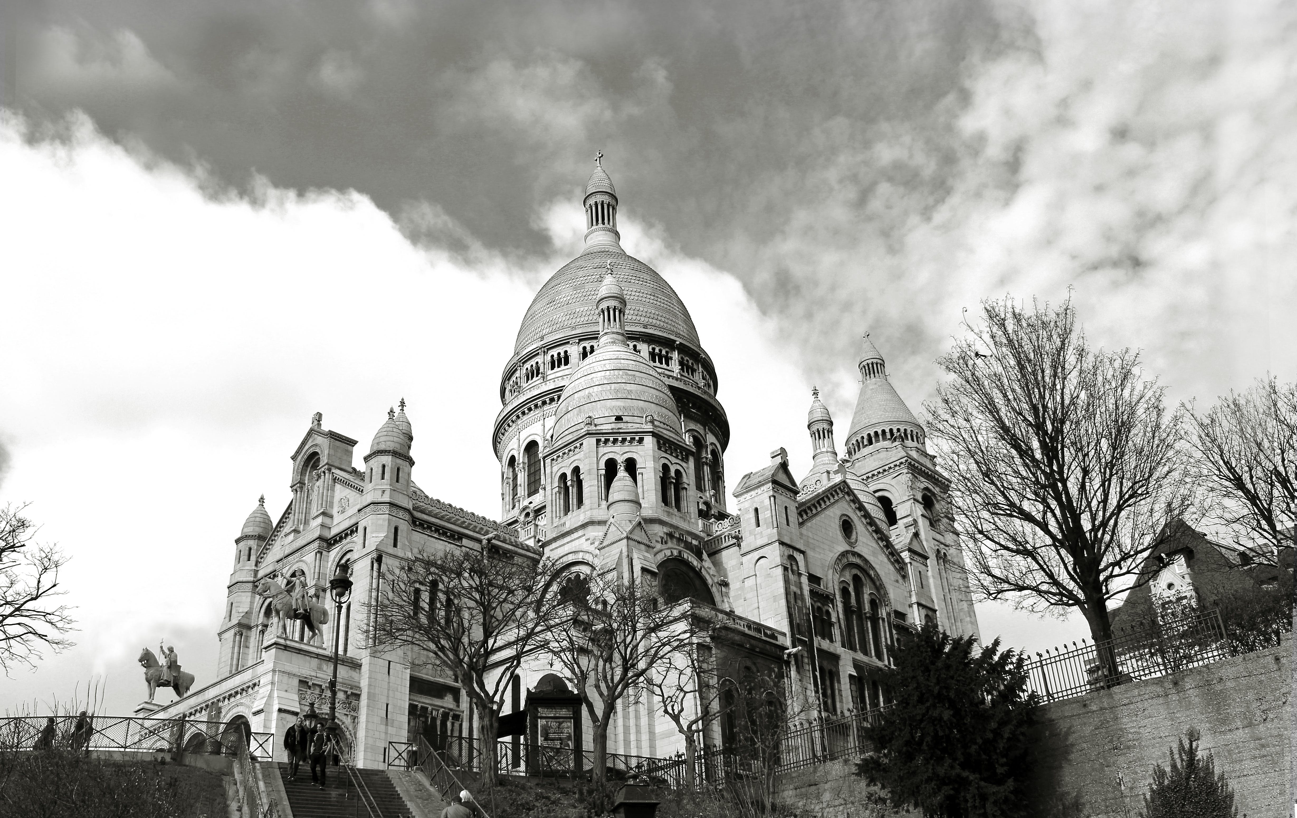 Greyscale Photography of Dome Building