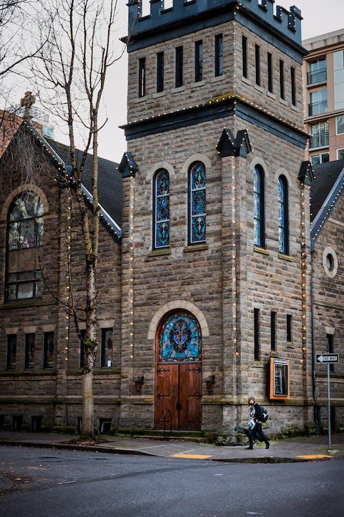 Facade of historic Lutheran church on city street
