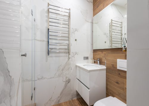 Interior of modern bathroom with toilet