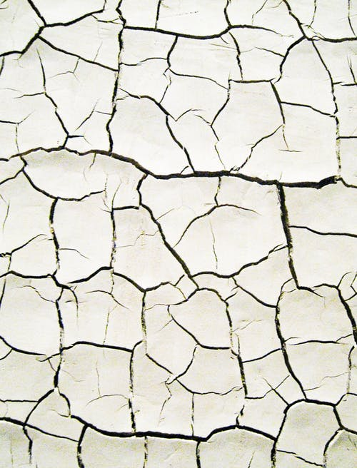 Dried Ground With Cracks In Close Up View