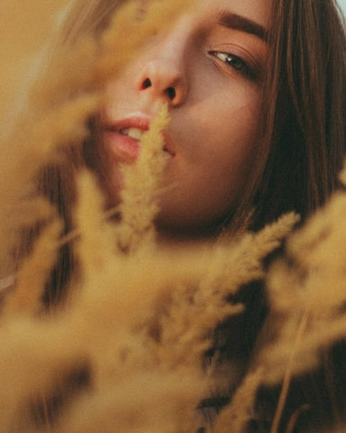 Calm young woman looking at camera through tall reeds in nature