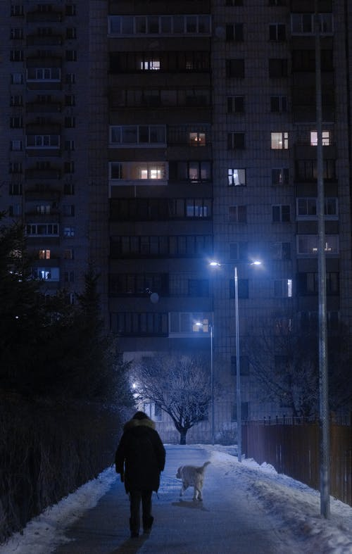 Person in Black Jacket Standing Near Building during Night Time