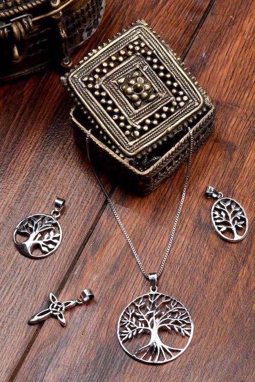 Silver and Black Square Pendant Necklace