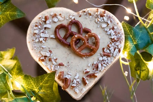 Chocolate Pretzels On A Heart Shaped Candy
