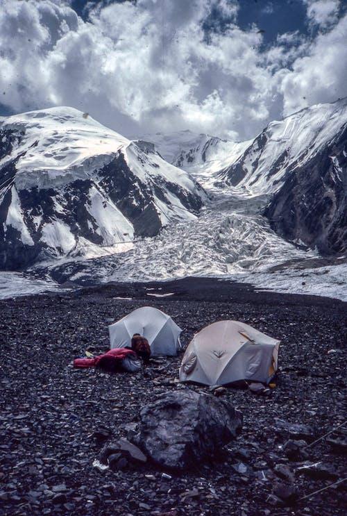 White Tent on Black Rocky Mountain