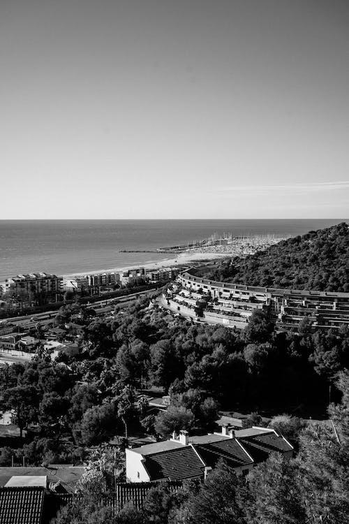 Hilly coast with houses near sea