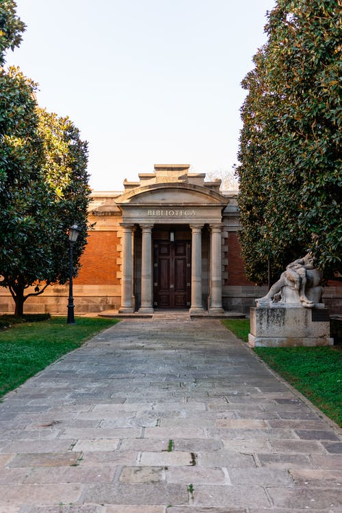 Paved walkway leading to historic building of library with columns located in park with trees and statue in Spain