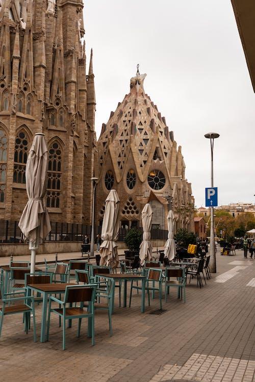 Historic Sagrada Familia church on street
