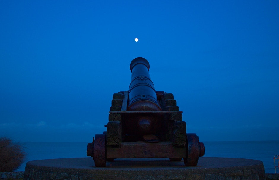 cannon, moon, night