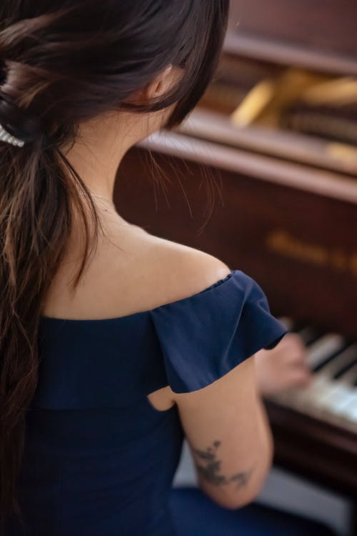 Back view of unrecognizable skilled female musician with black hair wearing elegant clothes performing melody on piano on blurred background
